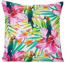 Parrots Cushion Cover Throw Pillow Case Green Pink White Printed Fabric 16""