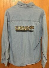 Harley Davidson Women SMALL BUTTON FRONT Shirt -EMBROIDERED LOGOS-EUC