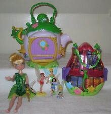 Disney Tinkerbell Glitter Sparkle Doll +TEAPOT TREE HOUSE +Flower Purse+Fairies