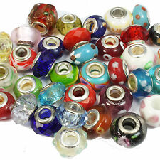 100 Mixed Glass Crystal & Lampwork Charm Beads Fits European Bracelet Wholesale