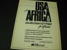 Usa For Africa Ad Deadline Date Tribute Issue 1985 Promo Display Ad mint cond