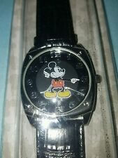 DISNEY Parks MICKEY MOUSE WATCH hands move Black & Silver Leather band  NEW