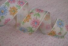 """Multicolor Flowers Ribbon, Wired Edge, 1 1/2"""" Wide, 3 YARDS, Ribbon Decorations"""
