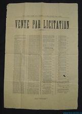 █ affiche VENTE PAR LICITATION 1882 VOSGES à Attigny / Saint-Julien Adjudication