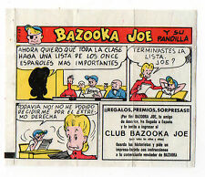 Bazooka Joe Spain Rare Spanish Text large size Wax wrapper comic 1970s