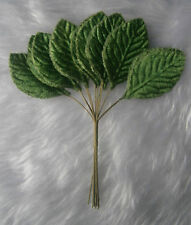12 x 60MM VELVET GREEN ROSE LEAVES ON WIRED STEMS