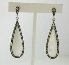 Marcasite Sterling Silver Elongated Tear Drop Mother of Pearl Ladies Earrings