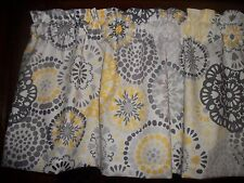 Gray Yellow Circles retro mid-century waverly fabric curtain topper Valance