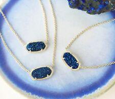 Kendra Scott Elisa Pendant Necklace in Blue Drusy & Gold NWT & Dust Bag