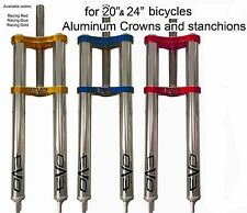 Bmx Double Crown Triple Tree Fork Aluminum Stanchions 450mm  1-1/8 Steerer tube