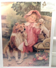 Victorian Lithograph Print Picture Her New Love Girl With Puppy And Dog  12X16