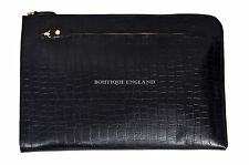 New Deluxe Black Croc Print Real Leather Under Arm Folder Document Holder Case