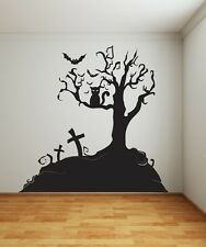 SPOOKY TREE 1M X 1M STICKER VINYL DECAL ART GOTHIC WALL SCARY CAT BAT HALLOWEEN