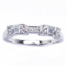 .32CT E VS BAGUETTE AND ROUND DIAMOND WEDDING BAND ANTIQUE STYLE SIZE 6.5
