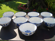 "BOMBAY COMPANY BLUE & WHITE CHINA (9) SALAD BOWLS, UNUSED CONDITION, 6"" DIAM."