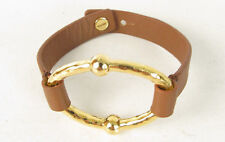 NWT Ralph Lauren Sculptural Gold Oval Brown Leather Button Band  Bracelet $48