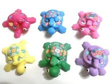 6 Fimo Polymer Clay Turtle w/ Baby Turtle Figurine Refrigerator Magnet Green, Pi