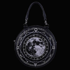 RESTYLE LUNA ROUND FAUX LEATHER HANDBAG. FULL MOON. WITCHCRAFT. GOTHIC. WITCHY