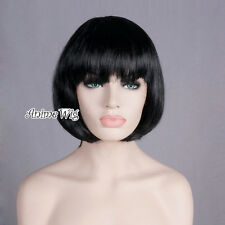 Fancy Cosplay Costume Black Color Lady Straight BOB Party Wig Hair Halloween