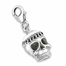 Genuine 925 Solid Sterling Silver Skull Charm/Pendant, Lobster Clip on, Gift Box