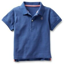 New Carter's Cotton Pique Polo Top Shirt Blue with Anchor Logo Size 6 Kid Boy