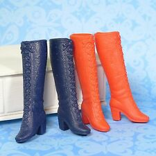 Vintage Mod Barbie 2 Pair Lot Red & Blue Tall Lace Up Boots 1972 Mattel Groovy!