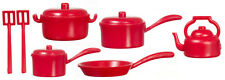 Red Kitchenware Pots & Pans Set, Dolls House Miniature, Kitchen Accessory