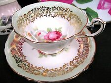 PARAGON TEA CUP AND SAUCER SAGE GREEN FLORAL  ROSE PATTERN TEACUP WIDE MOUTH