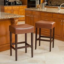 Set of 2 Backless Hazelnut Leather Counter Height Stools
