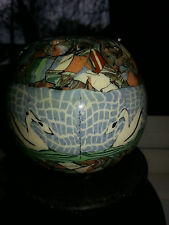 VALLAURIS JEAN GERBINO FRANCE1876-1966 MOSAIC POTTERY SWANS VASE IN VGC