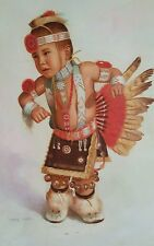 """Stunning Colorful Oil Painting Portrait Native American Boy Signed """"IAN KIM!"""