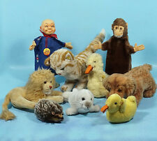 Lot/9 German Steiff Stuffed Toy Animal Hand Puppet Cat Lion Dog Seal Duck Monkey