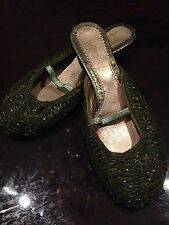 Nemesis Vintage Edwardian Style Green Beaded Heels Fabric Shoes