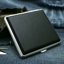 NEW meatl cigarette case black leather wrapped holds 20 cigarettes
