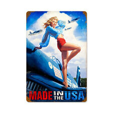 WWII Hildebrandt Pin Up Pinup Girl Made in the USA Tin Metal Steel Sign 12x18