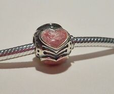"AUTHENTIC PANDORA ""ROSE HEARTS"" .925 Sterling Silver European Charm Bead -PN8"