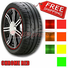 "6mm 1/4"" PIN STRIPE Striping Wheel Rim TAPE Decal Vinyl Sticker CHROME RED"
