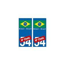 Brésil Brazil drapeau autocollant plaque droits