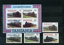 TANZANIA 1985 Sc#271-274a LOCOMOTIVES/TRAINS SET OF 4 STAMPS & S/S MNH