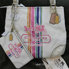 NWT COACH GLAM TOTE POPPY LEGACY STRIPE SEQUINS SHOULDER TOTE BAG+WRISTLET NEW