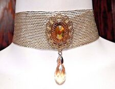 GOLD RIBBON ART DECO CHOKER baroque 1920's flapper necklace mesh band stone T5