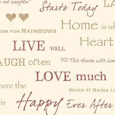 Fine Decor Wall Words Live Love Laugh Feature Walllpaper Red / Gold / Cream