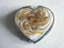 Mirano Art Glass Mirror Compact Heart Shape Gold Brown White New In Box