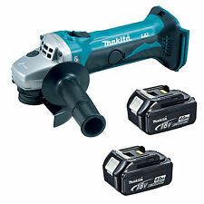 MAKITA 18V LXT DGA452 DGA452Z DGA452RFE ANGLE GRINDER AND 2 x BL1840 BATTERIES