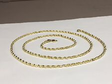"14k Solid Gold Diamond Cut Rope Pendant Chain Necklace 24"" 3  mm 14 grams (R023)"