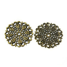 100PCS Antique Bronze Color Flat Round Brass Vintage Filigree Jewelry Findings