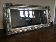ANTIQUE SILVER ORNATE LARGE BOUDOIR FRENCH LEANER DRESS WOOD WALL MIRROR 7FT