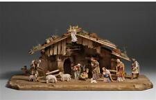 """15 Piece Kostner Nativity Scene by PEMA Woodcarvings - 10"""" Series Wooden Pieces"""