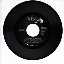 KENNY ROGERS & DOLLY PARTON Christmas Without You VG+ 45 RPM