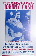 Johnny Cash Concert Poster 1986 Radio City Music Hall w/ Bob Dylan Willie Nelson